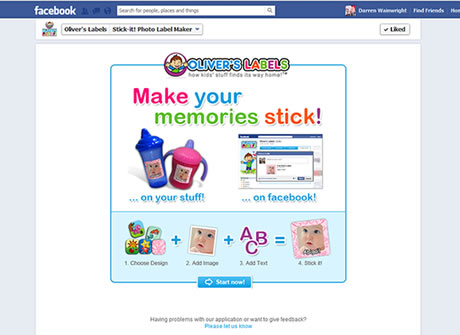 Stick-it! Photo label maker splash page within Facebook