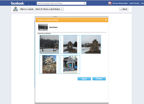 The user can select photos from their computer or Facebook; this is the Facebook photo picker.